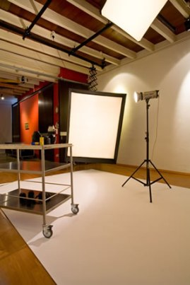 Studio with large light bank